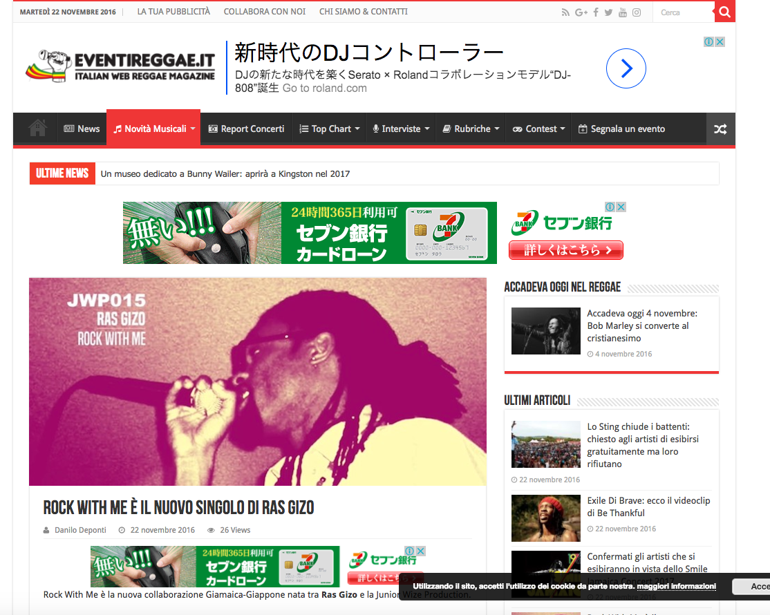 "Eventireggae.it posted the release information of ""Rock With Me""."