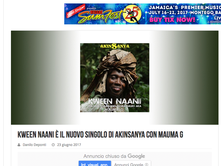 """Eventi Reggae"" reviewed for ""Kween Naanii""."