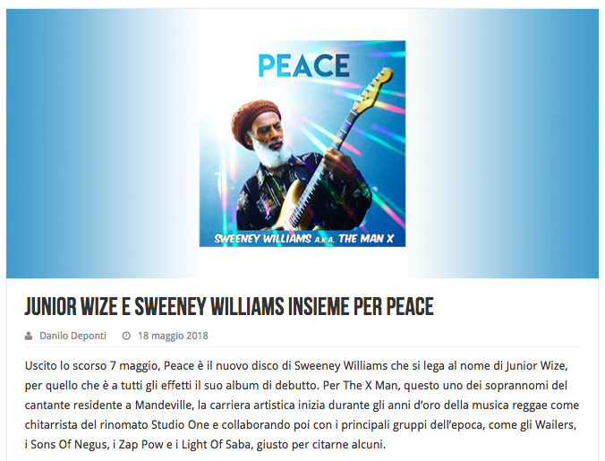 "Sweeney Williams ""Peace"" の素晴らしいレビューをいただきました!"