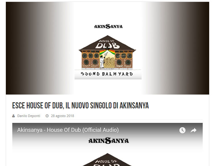 "Eventi Reggae posted article for ""Akinsanya - House Of Dub""."